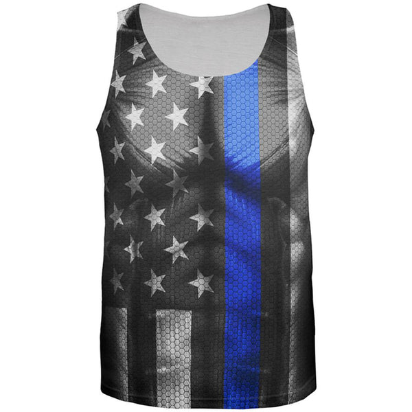 Halloween Thin Blue Line Superhero Costume All Over Mens Tank Top