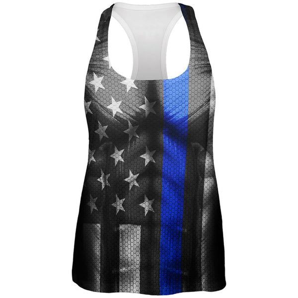 Halloween Thin Blue Line Superhero Costume All Over Womens Work Out Tank Top