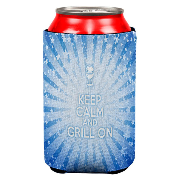 Keep Calm and Grill On Blue All Over Can Cooler