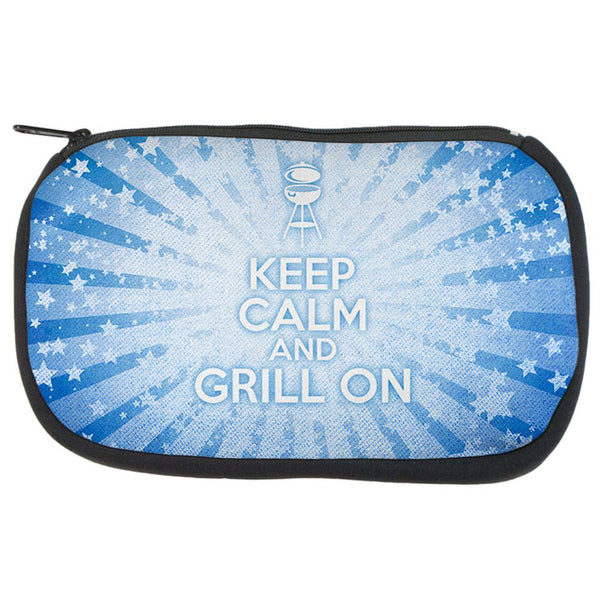 Keep Calm and Grill On Blue Travel Bag