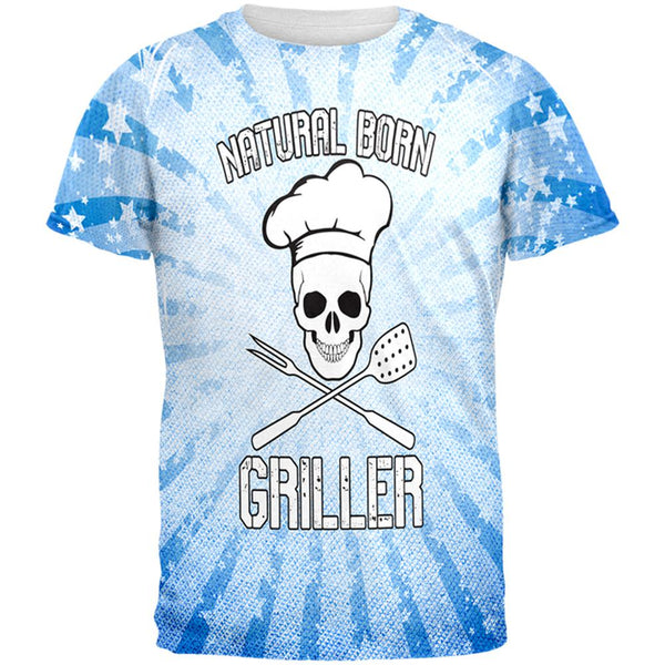 Natural Born Griller Blue All Over Mens T Shirt