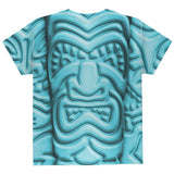 Tiki God Blue Face Luau All Over Youth T Shirt