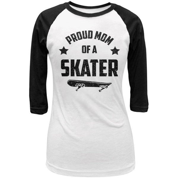Proud Mom Skater Skateboard Juniors 3/4 Sleeve Raglan T Shirt