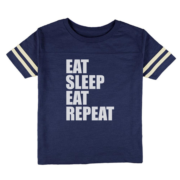 Eat Sleep Eat Repeat Funny Toddler Football T Shirt