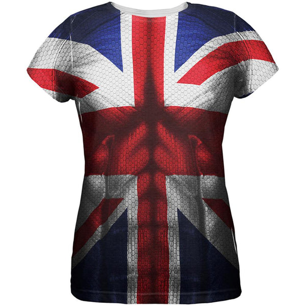 Halloween Union Jack British Flag Superhero Costume All Over Womens T Shirt
