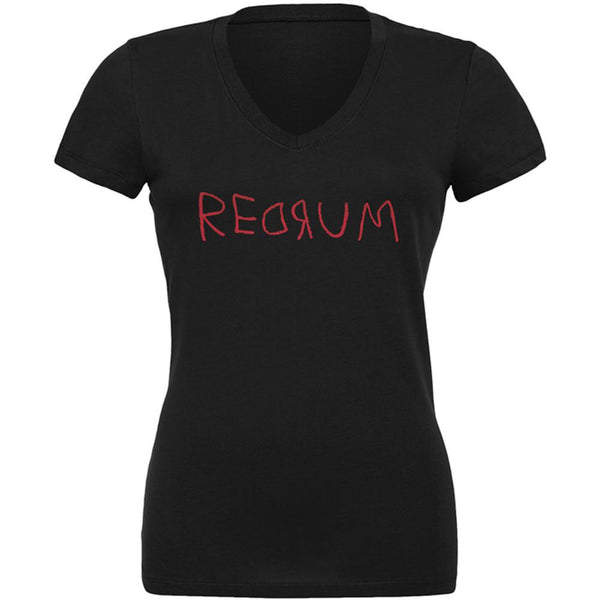 Halloween Horror Redrum Juniors V-Neck T Shirt