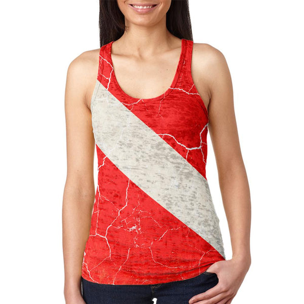 Diver Down Distressed Weathered Flag Juniors Burnout Racerback Tank Top
