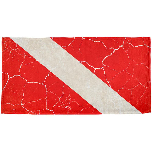 Diver Down Distressed Weathered Flag All Over Beach Towel