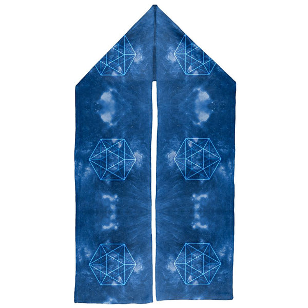 Sacred Geometry Icosahedron Crystal Wind Warm Fleece Scarf