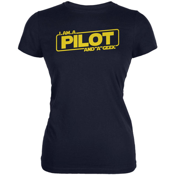 A Pilot and a Geek Juniors Soft T Shirt