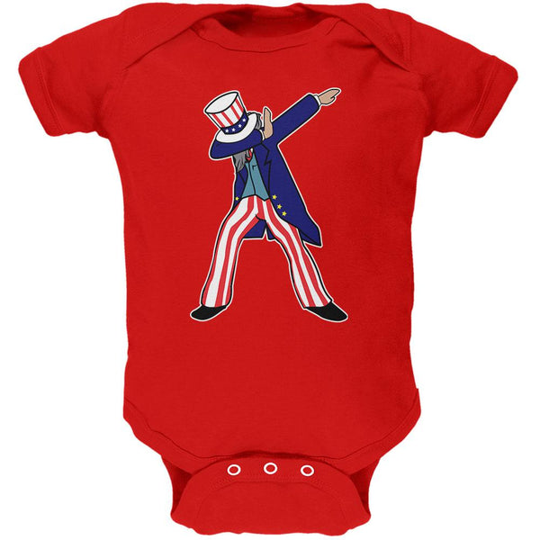 4th Of July Dabbing Uncle Sam Soft Baby One Piece
