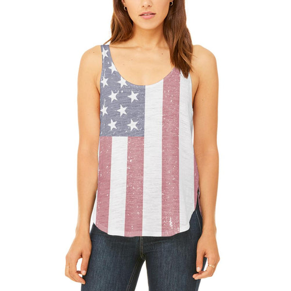 4th of July American Flag Distressed Juniors Flowy Side Slit Tank Top