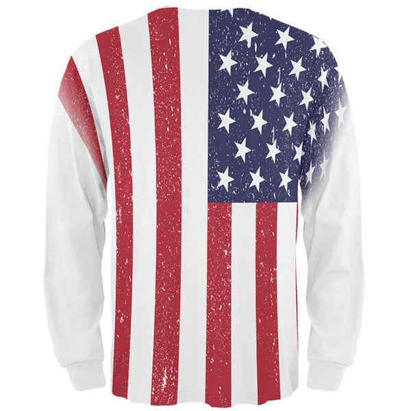 4th of July American Flag Distressed All Over Mens Long Sleeve T Shirt
