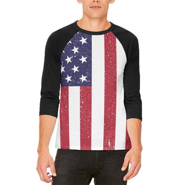 4th of July American Flag Distressed Mens Raglan T Shirt