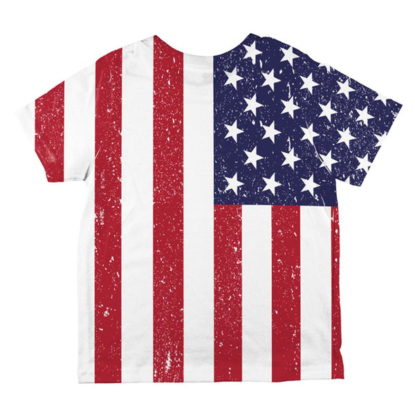 4th of July American Flag Distressed All Over Toddler T Shirt