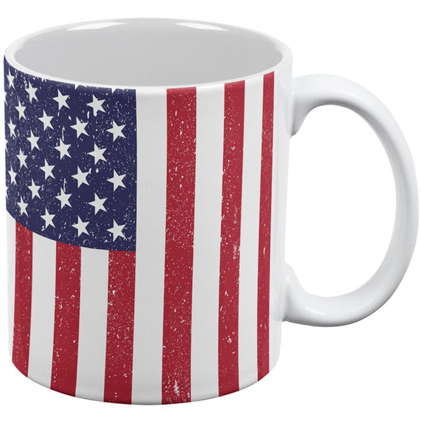 4th of July American Flag Distressed All Over Coffee Mug