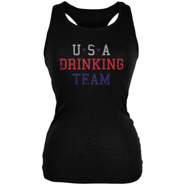 4th of July USA Drinking Team Juniors Soft Tank Top