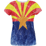 Arizona Vintage Distressed State Flag All Over Womens T Shirt
