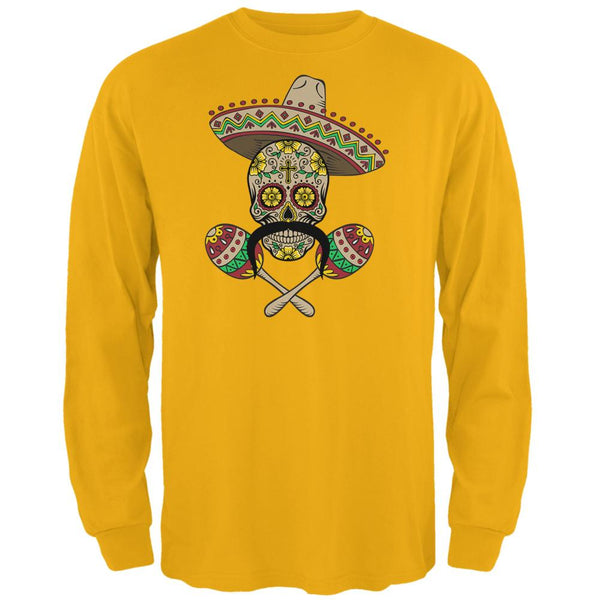 Cinco de Mayo Sombrero Skull Maracas Crossbones Mens Long Sleeve T Shirt