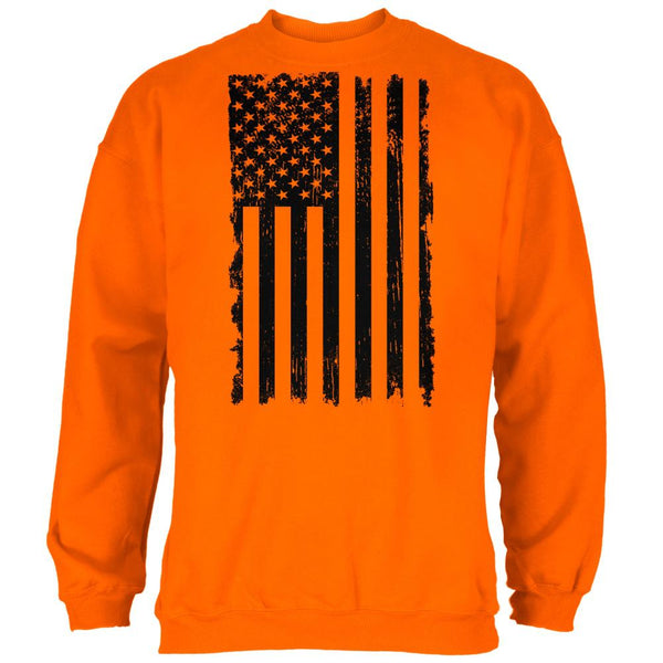 July 4th Distressed Black And White Vertical American Flag Mens Sweatshirt