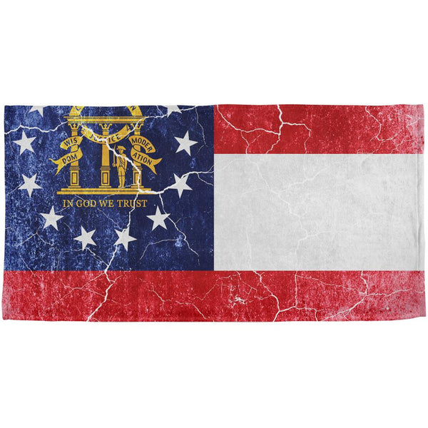 Georgia Vintage Distressed State Flag All Over Beach Towel
