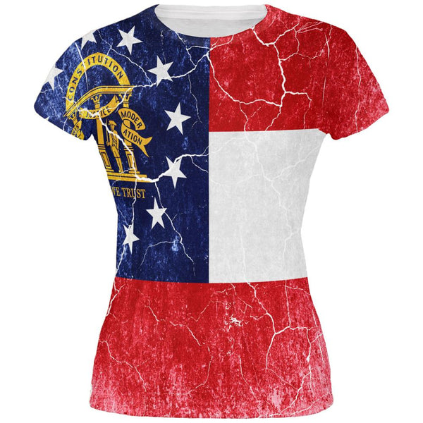 Georgia Vintage Distressed State Flag All Over Juniors T Shirt