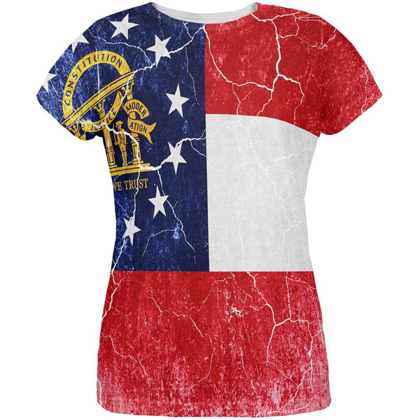 Georgia Vintage Distressed State Flag All Over Womens T Shirt