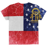 Georgia Vintage Distressed State Flag All Over Youth T Shirt