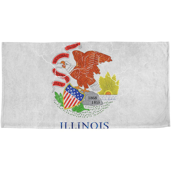 Illinois Vintage Distressed State Flag All Over Beach Towel