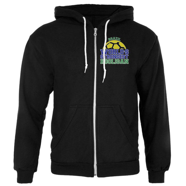 World Cup World's Strongest Hooligan Brazil Mens Full Zip Hoodie