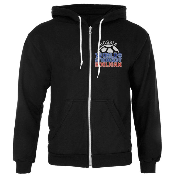 World Cup World's Strongest Hooligan Russia Mens Full Zip Hoodie