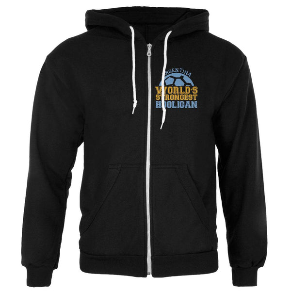 World Cup World's Strongest Hooligan Argentina Mens Full Zip Hoodie