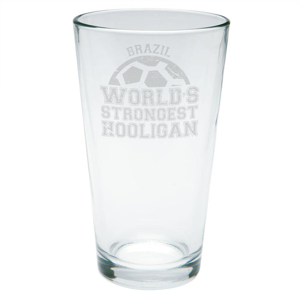 World Cup World's Strongest Hooligan Brazil Etched Pint Glass