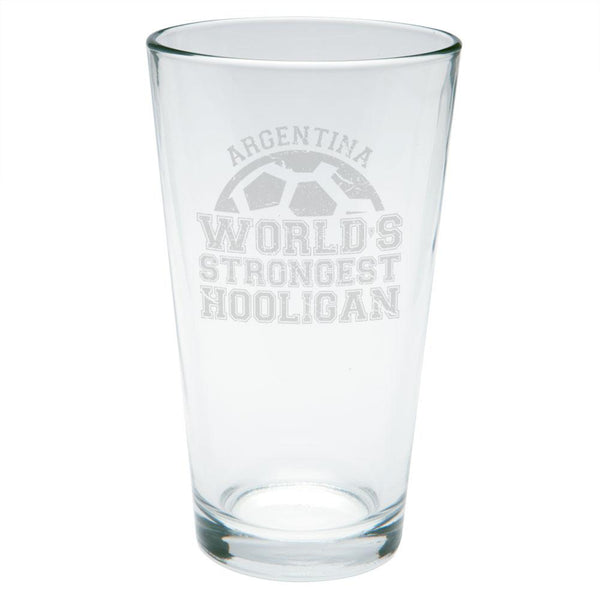 World Cup World's Strongest Hooligan Argentina Etched Pint Glass