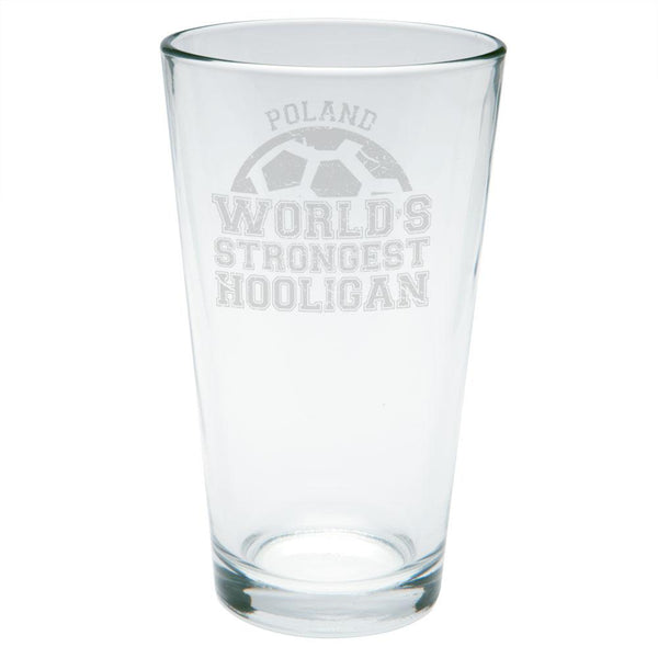 World Cup World's Strongest Hooligan Poland Etched Pint Glass