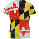 Maryland Vintage Distressed State Flag All Over Mens T Shirt