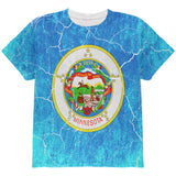Minnesota Vintage Distressed State Flag All Over Youth T Shirt