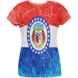 Missouri Vintage Distressed State Flag All Over Womens T Shirt