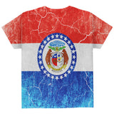Missouri Vintage Distressed State Flag All Over Youth T Shirt