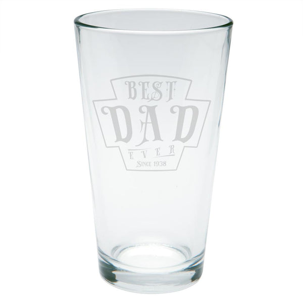 Father's Day Best Dad Ever Since 1938 Etched Pint Glass