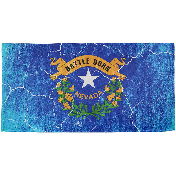 Nevada Vintage Distressed State Flag All Over Beach Towel