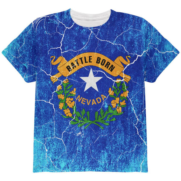 Nevada Vintage Distressed State Flag All Over Youth T Shirt