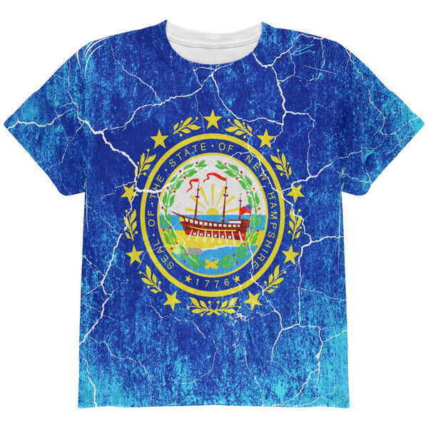New Hampshire Vintage Distressed State Flag All Over Youth T Shirt