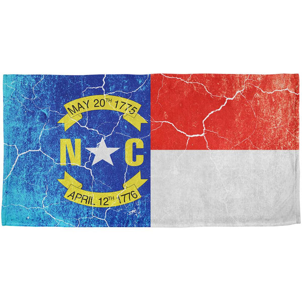 North Carolina Vintage Distressed State Flag All Over Beach Towel