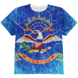 North Dakota Vintage Distressed State Flag All Over Youth T Shirt