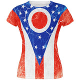 Ohio Vintage Distressed State Flag All Over Juniors T Shirt