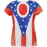 Ohio Vintage Distressed State Flag All Over Womens T Shirt