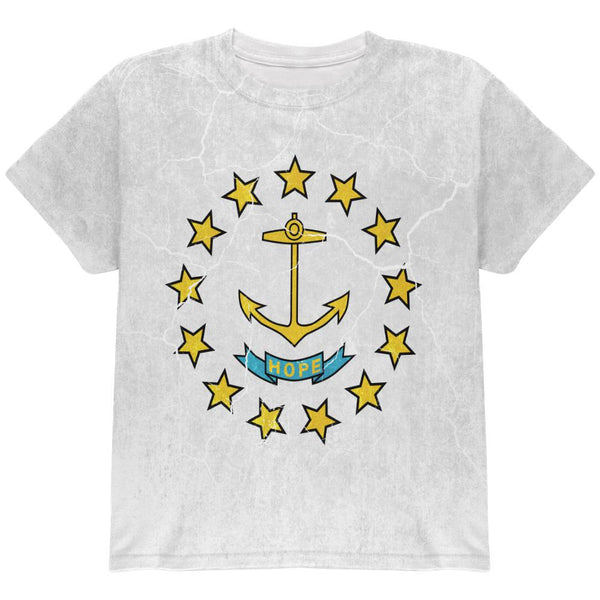 Rhode Island Vintage Distressed State Flag All Over Youth T Shirt