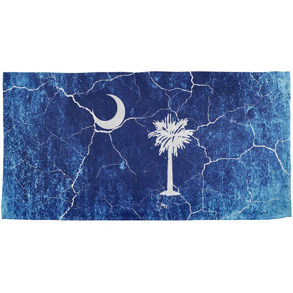 South Carolina Vintage Distressed State Flag All Over Beach Towel
