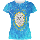 South Dakota Vintage Distressed State Flag All Over Juniors T Shirt